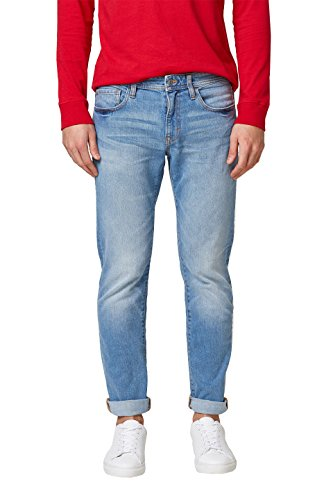 edc by ESPRIT Herren Straight Jeans 028CC2B007, Blau (Blue Light Wash 903), 34/32