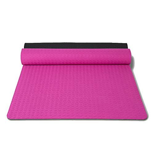 XAIOGZ Yogamatte, Trainingsmatte, Auch Für Gymnastik, Pilates Und Fitness, Weiche Und rutschfeste TPE Matte, Hypo-Allergen, Recyclebar Spezifikationen: 183 * 71 * 0,6 (cm),Carmine -