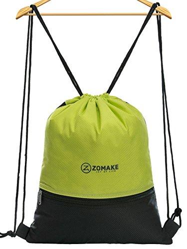 Sacca sportiva per uomo donna bambini - impermeabile gymsack con tasca della chiusura lampo per pallacanestro, calcio, nuoto, fitness, viaggi, shopping verde chiaro