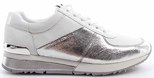 Women's Shoes Sneakers MICHAEL KORS Allie Wrap Trainer Metallic Silver White New