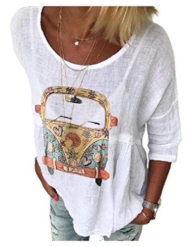 CuteRose Womens Patterned Scoop Neck Tees Printing Loose T Shirt Tunic Tops White 3XL - Scoop Neck Thermal Top