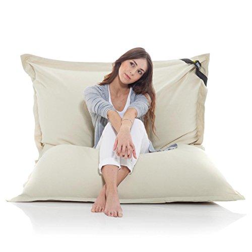 Manitou INDOOR Sitzsack BEIGE - 100% Baumwolle - 180 cm x 140 cm - Inhalt 500 Liter - Made in Germany - abziehbarer Bezug - 30 Jahre Garantie
