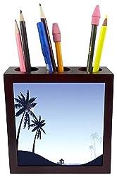 3dRose Pretty Blue Beach Scene with Palm Trees, Tile Pen Holder, 5-inch