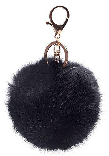 Iyou a forma di sfera in pelo di coniglio, placcato in oro, ciondolo a forma di portachiavi-Portachiavi ad anello per auto, colore: