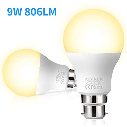 WiFi Smart Bulb AISIRER Alexa Light Bulbs No Hub Requried, B22 Bayonet LED Bulb Compatible with Alexa Google Home IFTTT, Dimmable Warm Light 2700K, 9W,60W Equivalent, 806LM(2 Pack)