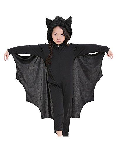 Kinder Vampir Overall Fledermaus Halloween Kostüm (Unisex) für Karneval Fastnacht Party Schwarz ()
