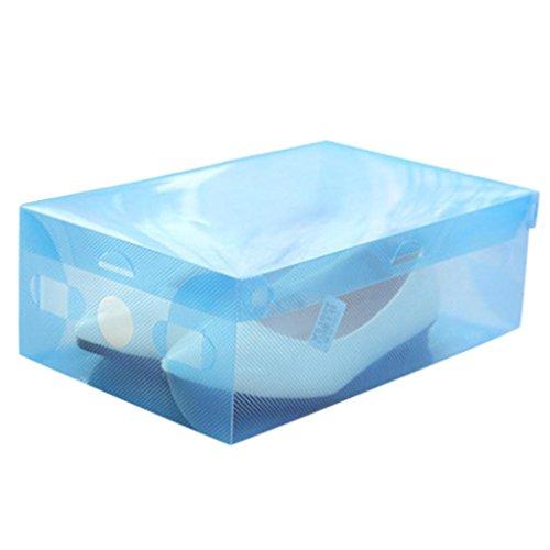 Schuhkarton Schuhbox Schuhaufbewahrung Stapelbox Transparent Mit Deckel transparent Aufbewahrungsboxen Kunststoff Hot-Sell-Faltbare - Kunststoff-Schuh-Boxen Organizer-Storage-Stackable -Box für Damen und Herren kleine große mittlere Schuhe (Blau)