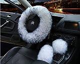 Sterzo-volante Peluche Auto Volante Coperture Inverno Faux Pelliccia Mano Freno & Gear Cover Set Auto Interni Accessori 38cm 38CM D