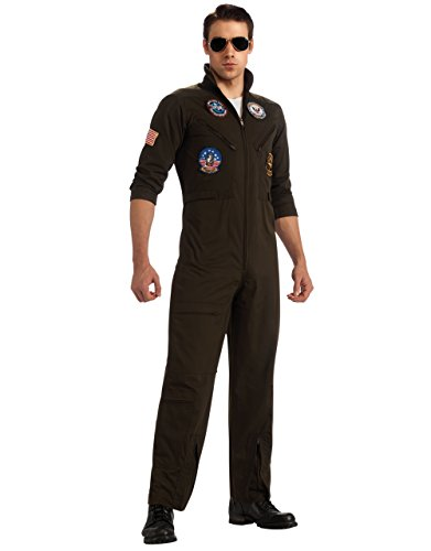 Herren Kostüm Top Gun Maverick Set, Standard, Brust 111.76 cm, Taille 86.36 83.82 30 cm cm; (Flight Top Herren Suit Gun)