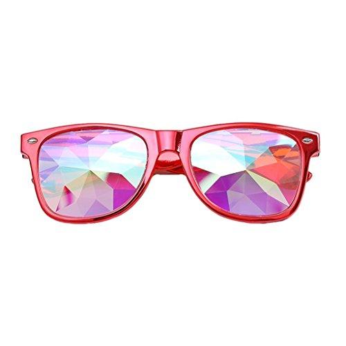 SHOBDW Sonnenbrille Neu Kaleidoskop Gläser Rave Festival Party EDM Sonnenbrille Beugungslinse (Rot)