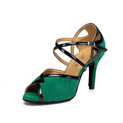 Wgwioo Femmes Sandales Salsa Latin Tango Ballroom Talons Daim Cuir Débardeur Souple Tops Avec Chaussures De Danse En Vert Boucle A
