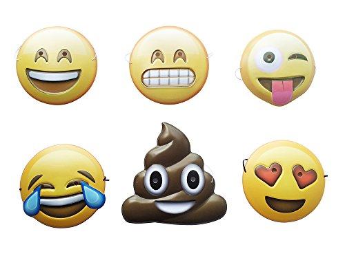 EAST-WEST Trading GmbH Maske 6er Set Emoticon, Smile, Selfie, Photobooth Requisiten, Foto Verkleidung, für Hochzeit, Geburtstag, Fasching
