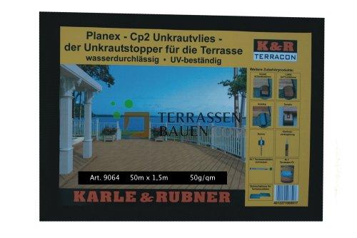 K&R Terracon Planex CP2 Unkrautvlies, schwarz, Rolle 50 x 1,5m