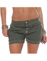 cd41984d6a10ef Malito Damen Hotpants in Unifarben | lockere Kurze Hose | Bermuda für den  Strand | Pants