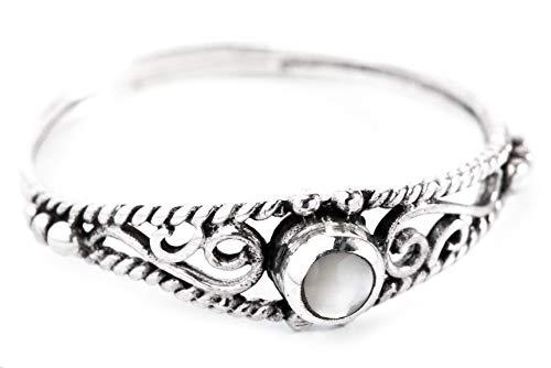 WINDALF Zarter Ring NAIRNE h: 0.5 cm Perlmutt 925 Sterlingsilber (Silber, 46 (14.6))