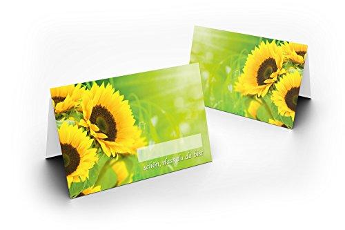 Karten24Plus 50 Wunderschöne Tischkarten (Sonnenblumen) UV-Lack glänzend - für Hochzeit, Geburtstag, Taufe, Kommunion, Firmung, Jubiläum . als liebevolle Tischdekoration!Format 8,5 x 11,2 cm