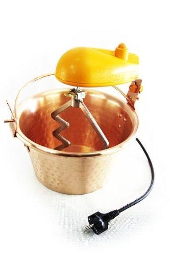 \'ARDES\' Kupfer Rührschüssel - 28 cm Durchmesser - mit elektrischem Rührwerk - für Polenta, Marmeladen und Süßspeisen