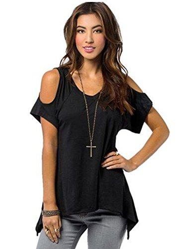 women-short-sleeve-shoulder-off-wide-hem-design-loose-stretch-top-shirt-blouse