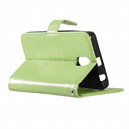 Custodia Lenovo Vibe P1m Cover Case, Ougger Portafoglio PU Pelle Magnetico Stand Morbido Silicone Flip Bumper Protettivo Gomma Shell Borsa Custodie con Slot per Schede Colore Verde verde