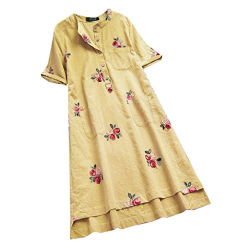 SEWORLD Kleid Damen Sommerkleid Strandkleid Vintage Unregelmäßige Blumen gestickte Taschen Kurzarm Kleider T-Shirt Hemdkleid Freizeitkleid Abendkleider Partykleid(Gelb,EU-36/CN-M) -