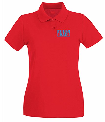T-Shirtshock - Polo pour femme FUN0633 army dad b w sticker 66178 Rouge