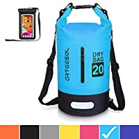 arteesol Waterproof Bag 5L/10L/20L/30L Dry Bag Rucksack with Double Shoulder Strap Backpack for Swimming Kayaking Boating Fishing Traveling Cycling Beach-[7 Colors] 20L Sky blue