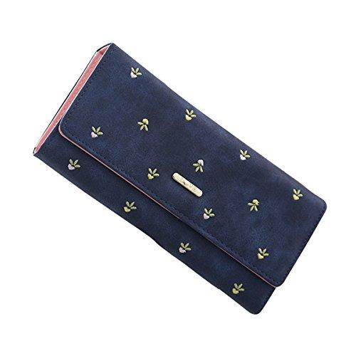 GoGou Casual Trifold Weibliche Lange Geldbörse Geldbörse Leder Geld Clip Pflanze Kartenhalter für Frauen (Navy Blue) (Tri-fold Leder Schwarz Blues)