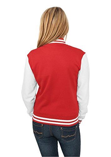 Urban Classics Damen Jacke Ladies 2-tone College Sweatjacket Red/White