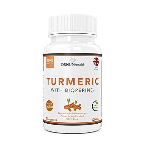 Turmeric Capsules With BioPerine | 1000mg Dose Turmeric Curcumin | 90 Veg Capsules | 100% Natural Anti Inflammatory and Antioxidant | Suitable For Vegans and Vegetarians | UK Produced and GMO Free | OSHUNhealth