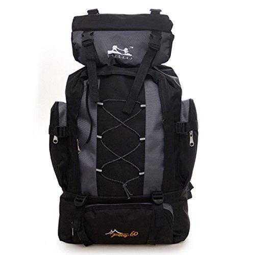 60L Groß Kapazität Bergsteigen Tasche Reise Rucksack Wandern Tasche Outdoor Rucksack Grey
