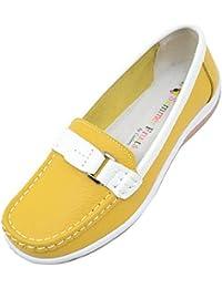 Ladies/Womens 100% Real Leather Slip en verano/Vacaciones/Casual/Barco Zapatos