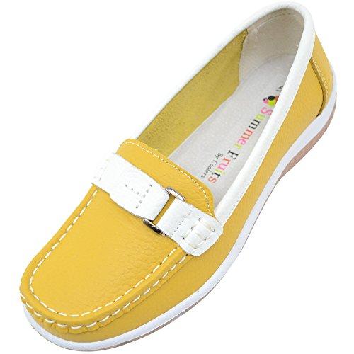 Damen/Damen 100% echtem Leder Slip auf Sommer/Urlaub/Casual/Boot Schuhe Melon