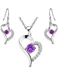 FindOut plaqué rhodium 925 accent de Améthyste Coeur Set boucle d'oreille et collier pendentif.(f368