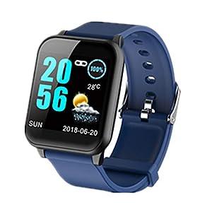 AIFB Smartwatch, Herzfrequenz-Monitor, wasserdicht, Schlaf-Tracker, Schrittzähler, Alarm, Fitness-Tracker, Benachrichtigung, Push-für Android iOS Handy, blau, Einheitsgröße