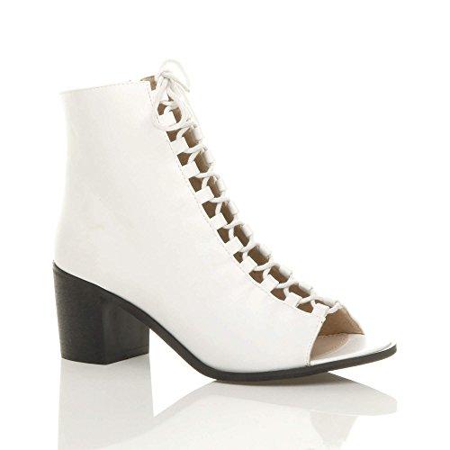 3be188bef7 Damen Mittlerer Blockabsatz Schnür-Pumps Peeptoes Stiefeletten Schuhe Größe  Weiß Matt