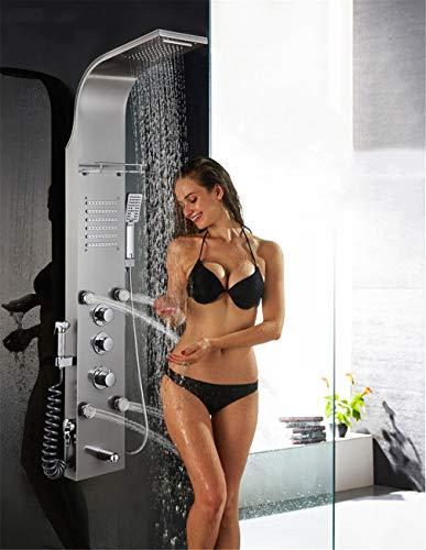 LHY BATHLEADER Duschsäulenturmsystem, Intelligente konstante Temperatur Duschsäulenturm Edelstahl Duschsäulensystem Regenwasserfall Duschkopf SPA Massage-Jet