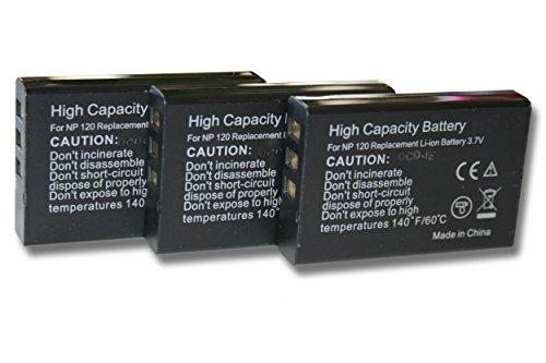 3 x vhbw Akku Set 1600mAh (3.7V) für Kamera Kyocera, Yashica Contax TVS, TVS digital wie NP-120, BP-1500s. - Contax Digital-tv
