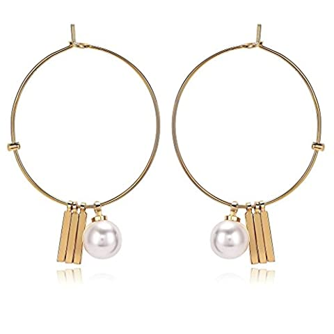 Beydodo Dangle Earrings for Women Gold Plated Earrings Simple Big Round Earring Hoop for Bridal Bar Pearl