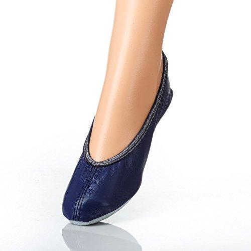 Balettschuhe YARO, Gymnastikschuhe, Turnschuhe, aus LEDER, mit Gummi, verschiedene Farben, Gr. 23 bis 40 Blau