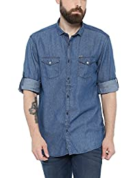SHOWOFF Mens Blue Solid Casual Shirts