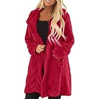 Damen Warm Plüschmantel Faux Fur Umlegekragen Strickjacke Frauen Langarm Steppjacke Outwear Fleecemantel Winter Wolle Parka Mantel Oberbekleidung