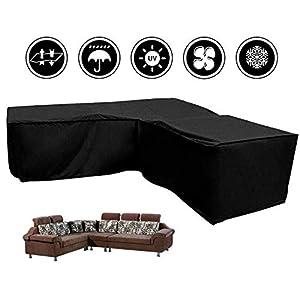 L-förmigen abdeckung lounge sofa – lounge abdeckung l-form mit Spannschnüren unten,210D abdeckplane für gartenmöbel L-Form schutzhüllen für gartenmöbel (L-Form 300x300x90 cm + Rechteck 155x95x68 cm)