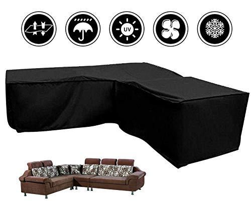 Silvotek Coperture per divani da Giardino Forma di L coperture per arredo Giardino Forma di L con Corde di serraggio Basso210D copridivano per