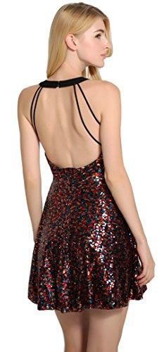La Vogue Robe Mini Femme Halter Pailleté Dos Nu Patineuse Taille Haut Rouge