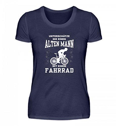 Hochwertiges Damen Premiumshirt - Unterschätze keinen Mann mit Fahrrad Dunkel-Blau