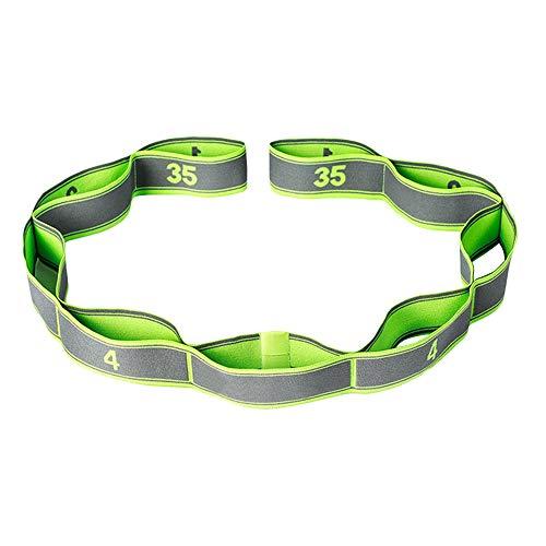 Wankd Gymnastik-Gurt mit 9 Schlaufen   Yoga-Gurt 105 x 3,6 cm   Stretch-Strap für mehr Beweglichkeit   Stretchgurt   Fitness Pilates Physiotherapie Stretch-Gurt (Grün)