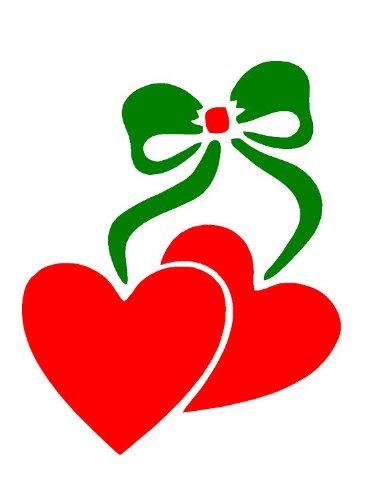 Hearts & Bow A3, wall art, vernice aerografo, in Mylar da 125micron, riutilizzabile