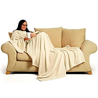 Snug~Rug 60 x 84-inch Adult Deluxe Coral Fleece The Blanket with Sleeves - Cream - inexpensive UK light shop.