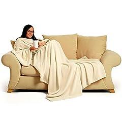 Idea Regalo - ghi Snug Rug Coperta con maniche integrate per adulti, molto felpata, colore: Crema