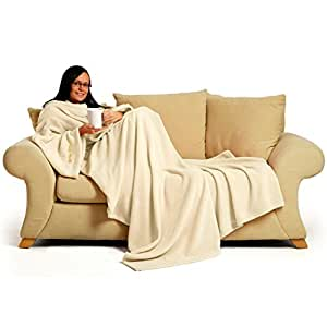 Snug~Rug 60 x 84-inch Adult Deluxe Coral Fleece The Blanket with Sleeves - Cream